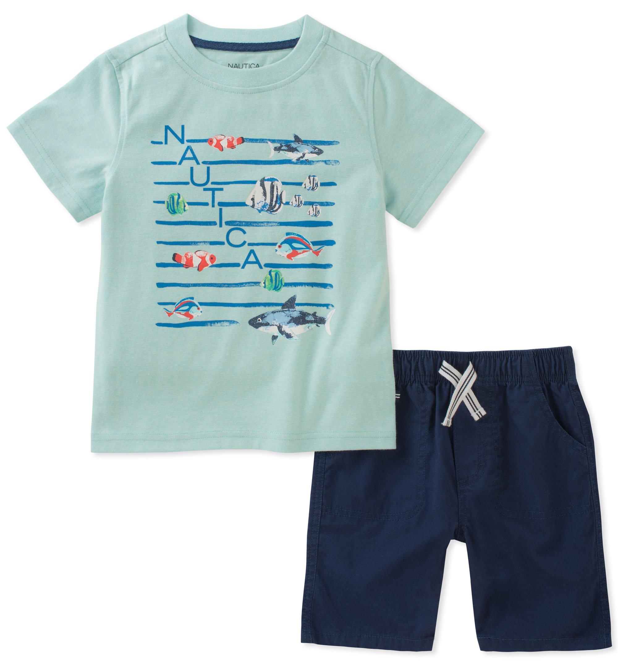 Nautica Boys' Tee with Shorts, Yellow, 7