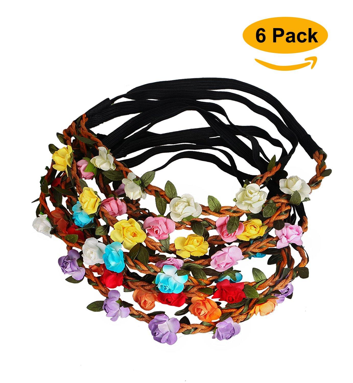 Sumolux Women's 6 pcs Boho Style Floral Flower Hairband for Girls/Baby Girls Festival Party Wedding Headbands