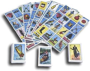 DEMIL Juego de Mesa para la Familia Autentica Loteria Mexicana, Juego de 2 Unidades, Juego de tableros medianos y mazo de 54 Tarjetas: Amazon.es: Juguetes y juegos
