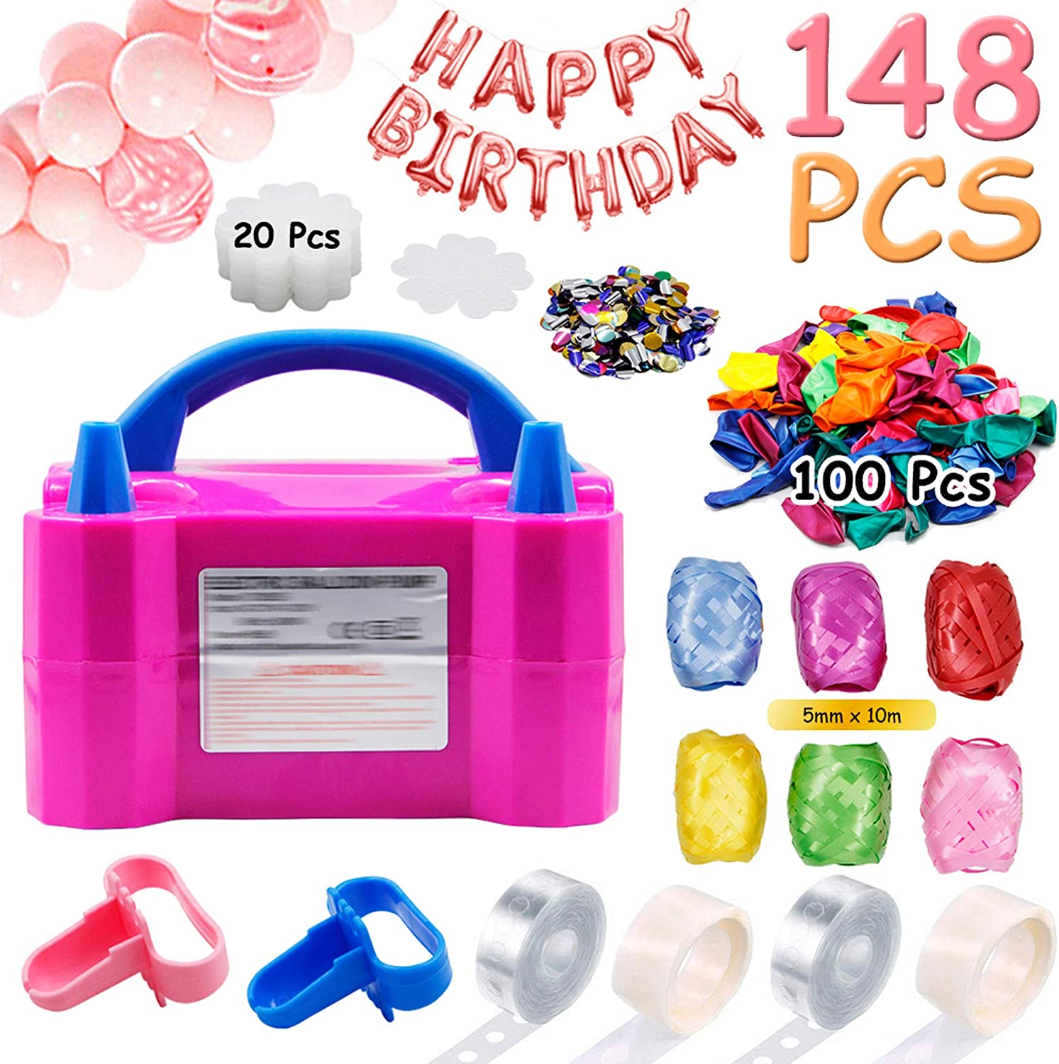 DR.DUDU Balloon Pump,Portable Dual Nozzles Electric Balloon Air Pump(110V 600W), 113 PCS Party Balloons Set with Tying Tools, Colored Ribbons, 20 Flower Clips, Tape Strip, and Dot Glues for Party Decoration