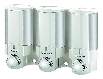 Aviva - Dispensador de jabón triple (para jabón, champú y gel), color