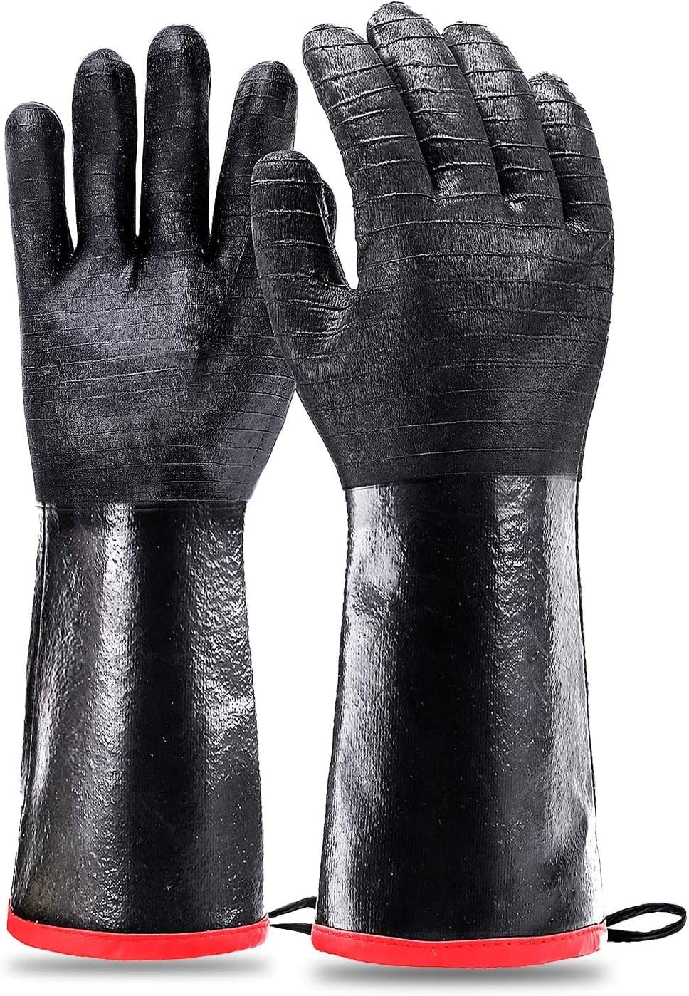 Heat Resistant-Smoker BBQ Gloves 17 Inches,932℉, Grill, Cooking Barbecue Gloves, to Handling Heat Food Right on Your Fryer,Grill,Oven. Waterproof, Fireproof, Oil Resistant Neoprene Coating(17 inch)