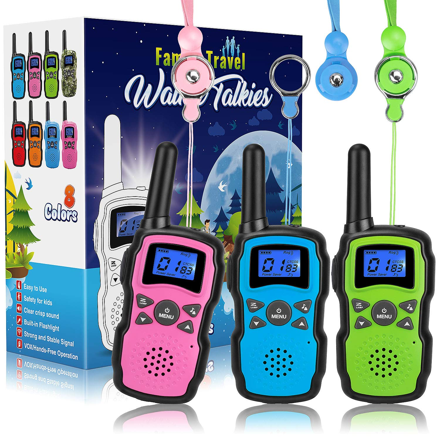Wishouse Walkie Talkies for Kids, Two Way Radio Family Talkabout for Adults Cruise Ship Long Range, Outdoor Camping Hiking Fun Toys Birthday Gift for 3 4 5 6 7 8 9 10 11 12 Year Old Girls Boys 3 Pack by Wishouse (Image #1)