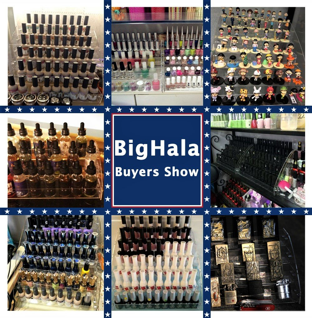 Nail Polishes Holder Shelves Essential Oils Clear Acrylic Organizer Display Stands for Reagent Dropper Bottles Storage Case Rack Amount Cosmetics Shop Store Candy Toy Goods Eyeglass Display 6 tiers