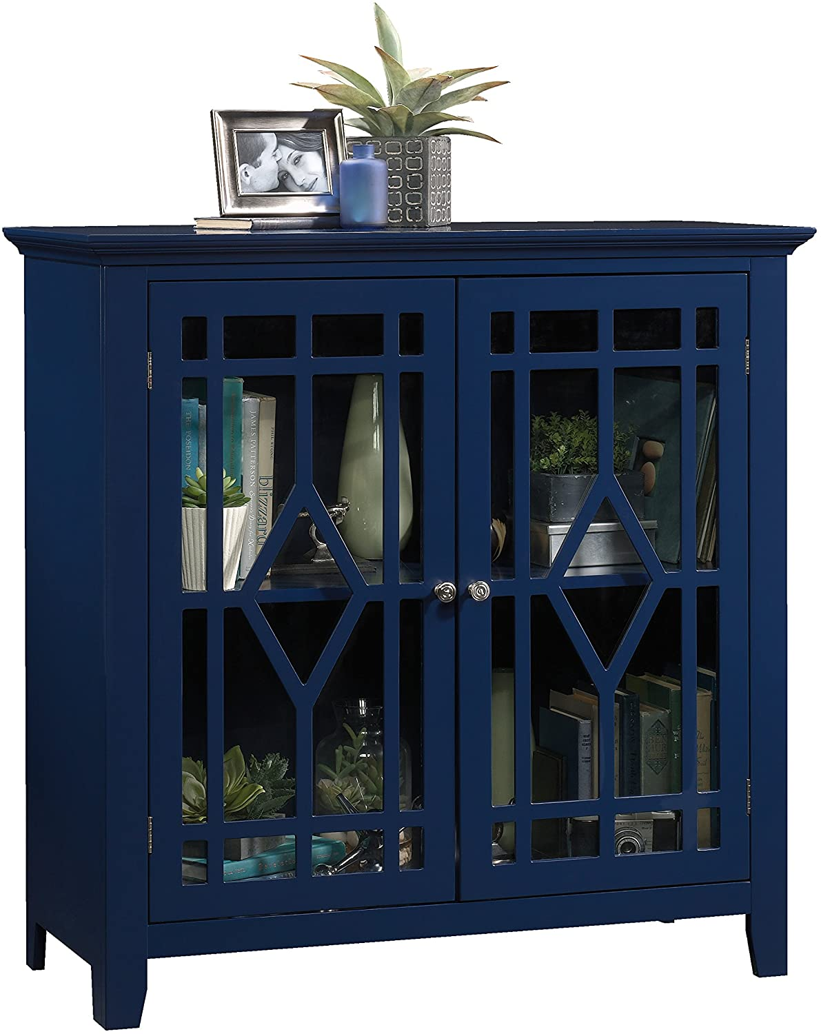 "Sauder 420128 Shoal Creek Display Cabinet, L: 35.98"" X W: 15.75"" X H: 35.95"", Indigo Blue finish"