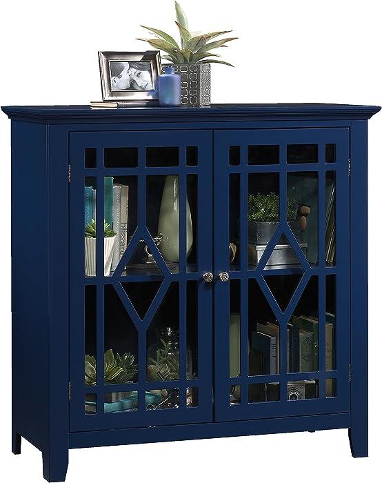 "Sauder 420128 Shoal Creek Display Cabinet, L: 35.98"" X W: 15.75"" X H: 35.95"", Indigo Blue finish"