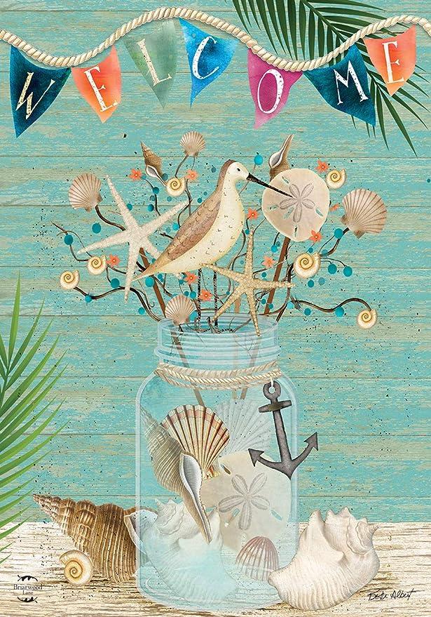 "Coastal Mason Jar Summer Garden Flag Welcome Nautical 12.5/"" x 18/"" Briarwood Lane"