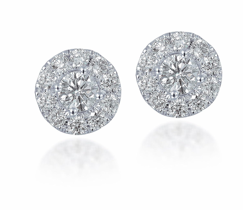 Amazon Diamond Studs Forever 14K White Gold Diamond Halo