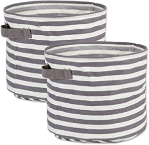 DII Fabric Round Room, Nurseries, Closets & Everyday Storage Needs, Large Set of 2-Gray Stripe Laundry Bin,