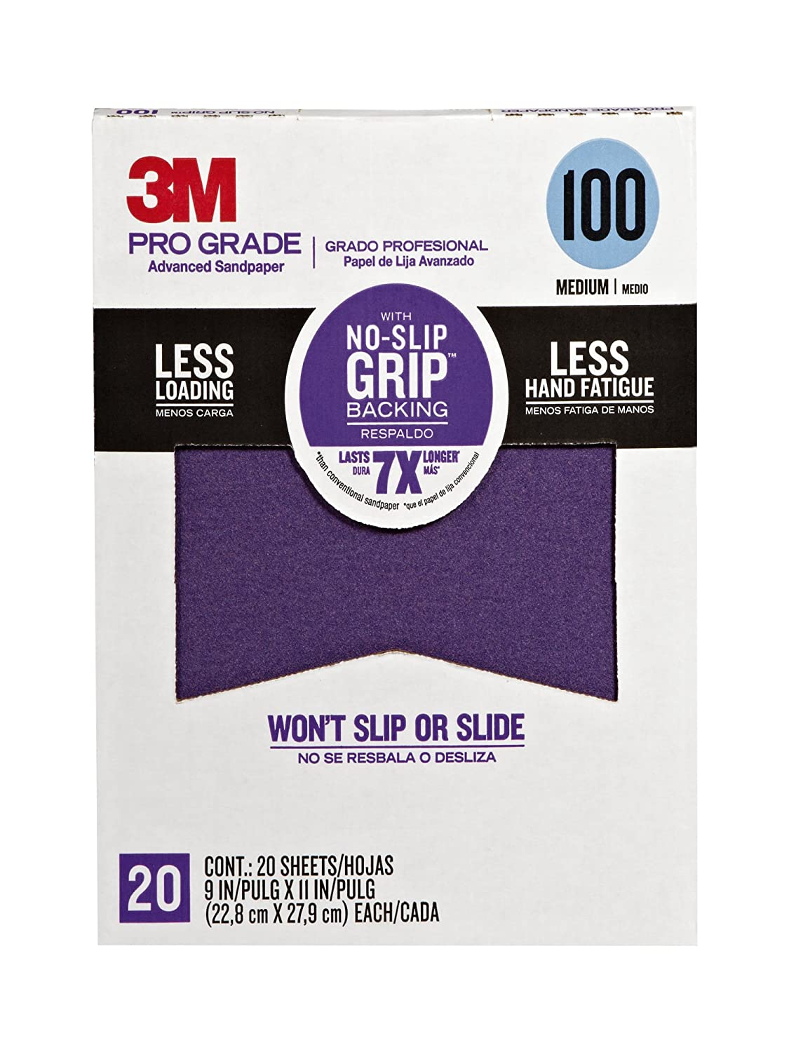 3M 26100CP-P-G Pro Grade No-Slip Grip Advanced Sandpaper, 9 x 11-Inch, 100 Grit, Pack of 20, Clear