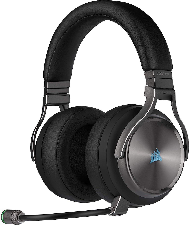 Corsair Virtuoso RGB Wireless SE Auriculares Alta Fidelidad Gaming (Sonido Envolvente 7.1, Micrófono Omnidireccional con Calidad de Transmisión para PC, Xbox One, PS4, Switch y Móviles) Gris