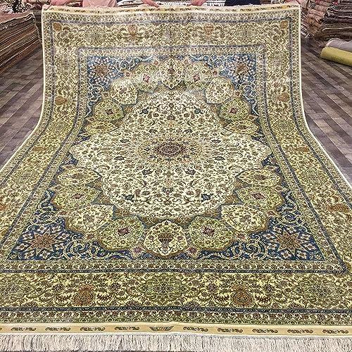 Yuchen 8.5ftx11.48ft Large Blue Oriental Bedroom Turkish Area Rugs Persian Handmade Silk Rug Carpet