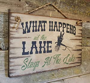 What Happens at The Lake Stays at The Lake Lodge Sign Rustic Wood Sign Wall Art Home Family Decoration Design Plank Plaque Wooden Sign