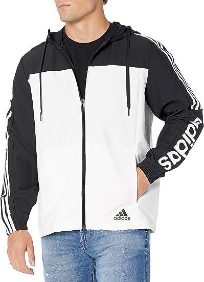 adidas Herren Essentials Windbreaker Jacke, SchwarzWeiß