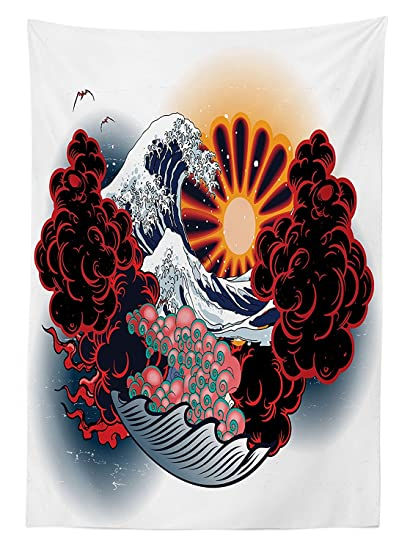 8ecda3aab21de vipsung Tattoo Decor Tablecloth Brave Native American Warrior Chief of  Tribe with Noble White Horse Dining