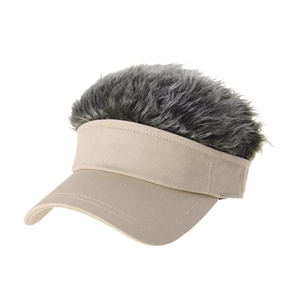 WITHMOONS Flair Hair Sun Visor Cap with Fake Hair Wig Novelty KR1588 (Beige) 9c4a45f2a8e