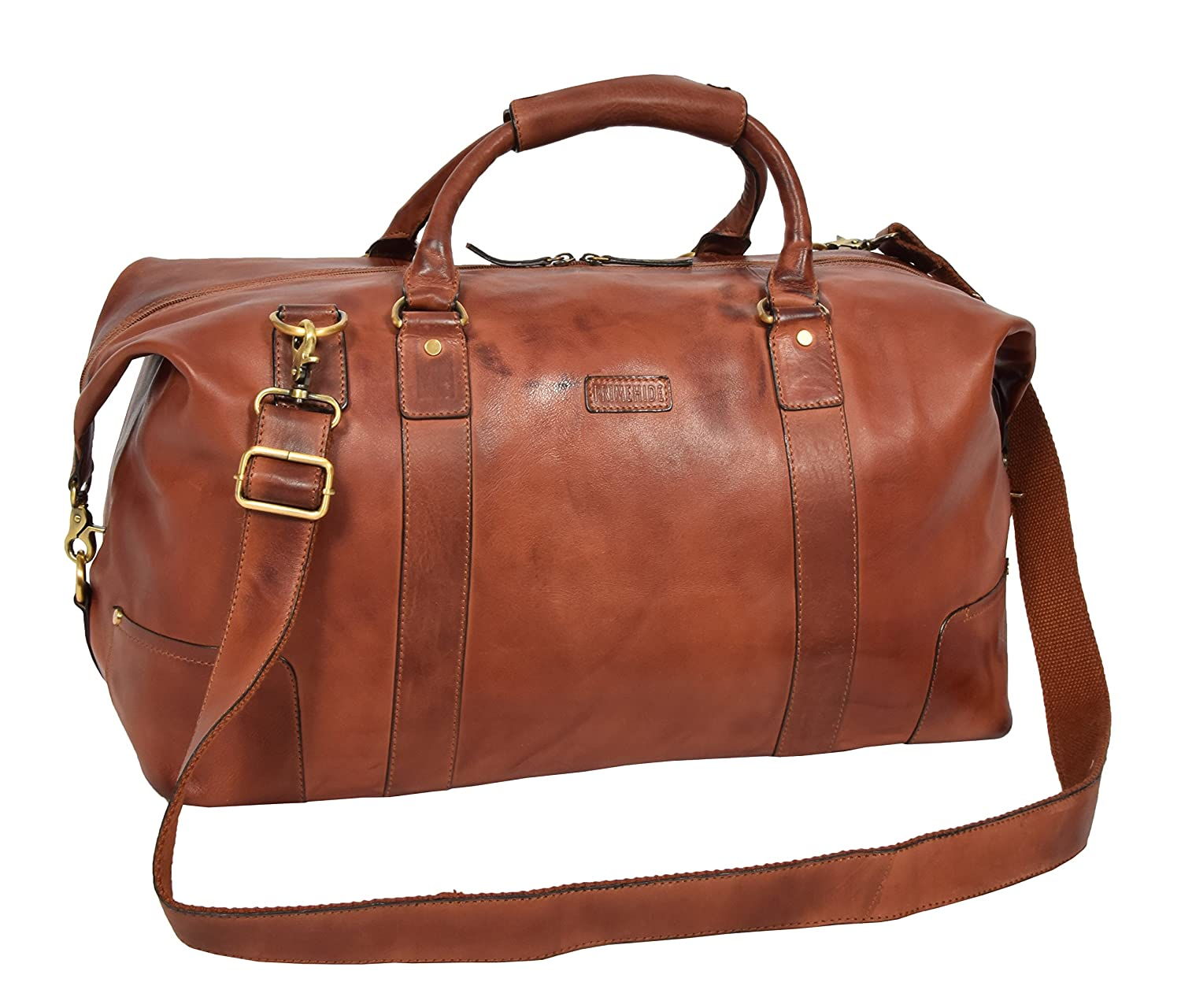 935e4b3ac Genuine Leather Holdall Vintage Tan Travel Duffle Bag Gym Weekend Cabin Bag  Rome  Amazon.co.uk  Clothing