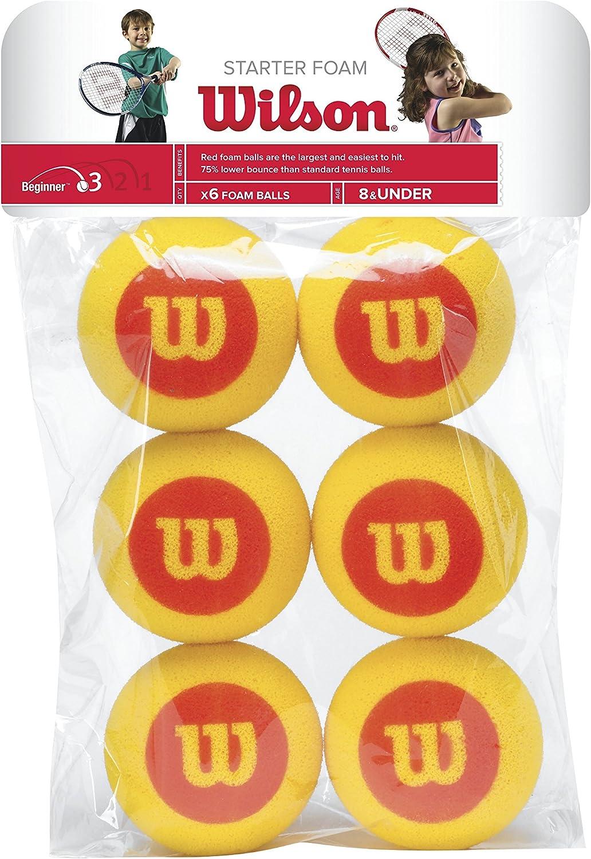 Wilson Starter Foam Pelotas de tenis, pack de 6, para niños, amarillo/rojo
