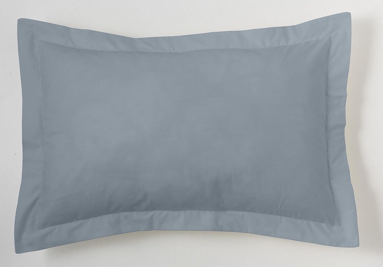 ESTELA - Funda de cojín Combi Liso Cala Color Acero - Medidas 50x75+5 cm. - 100% Algodón - 144 Hilos - Acabado en pestaña