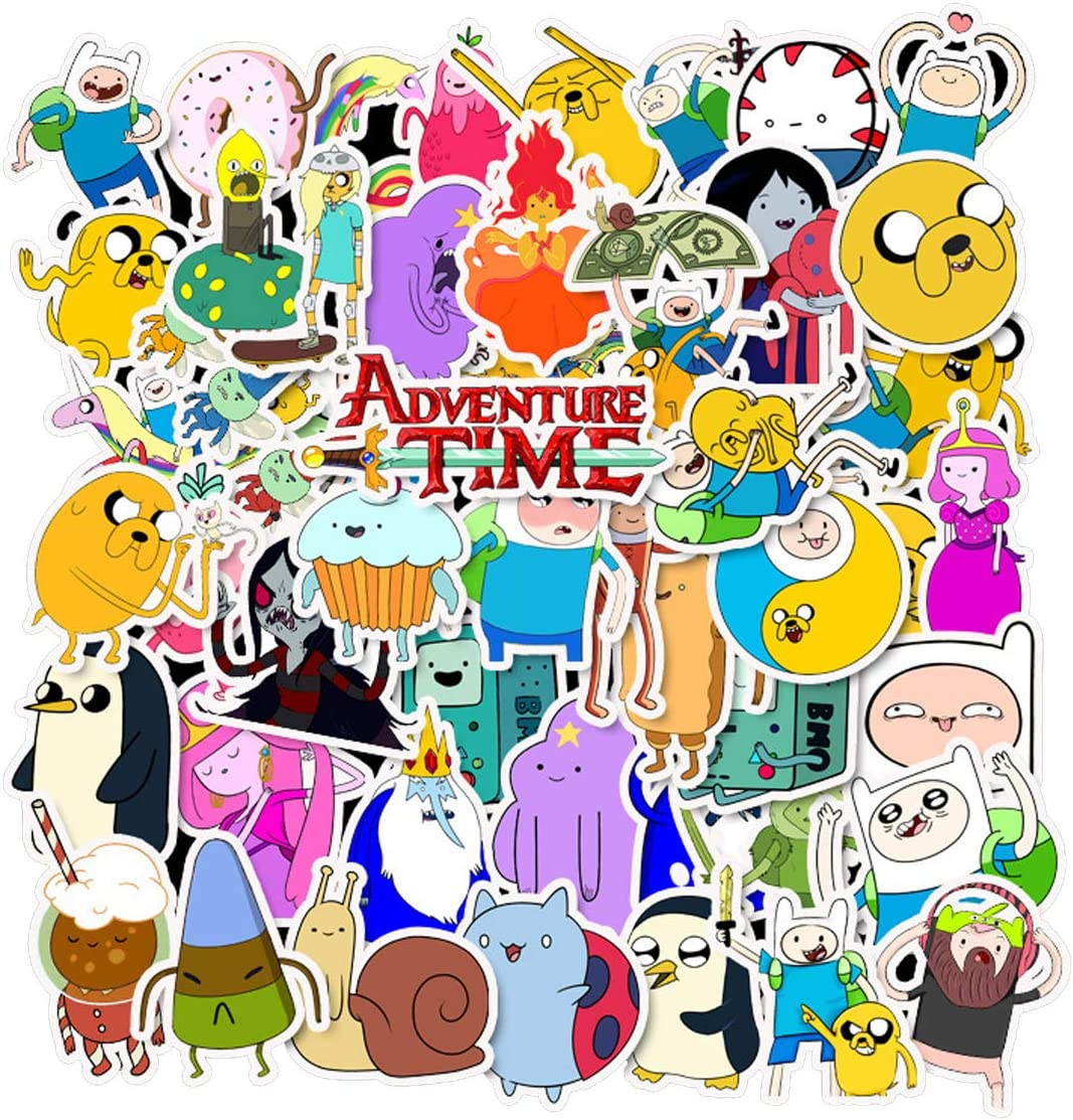 Adventure Time with Finn and Jake Stickers Pack[50PC] Waterproof Vinyl Car Sticker for Laptop Motorcycle Bicycle Luggage Decal Graffiti Patches Skateboard Stickers for Kid (Adventure Time)