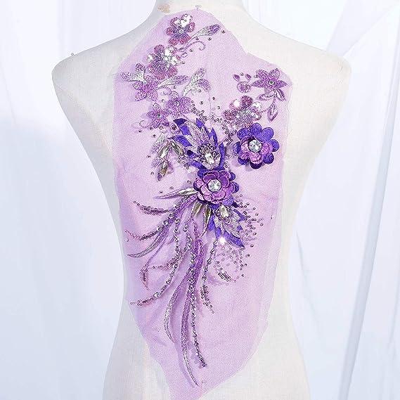 Embroidered 3D Applique Fabric Lavender Mauve Sequin Rhinestone Floral Design Dance Costume Fabric DH78-Lvmv