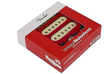 Amazon.com: Fender Vintage Noiseless Stratocaster Pickups Set White on fender jaguar bass wiring diagram, fender p-bass wiring diagram, single pickup wiring diagram, squier strat wiring diagram, knob and tube wiring diagram, fender mustang wiring diagram, fender pickup wiring diagram,
