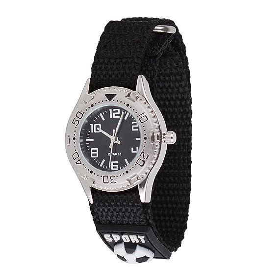 Wolfteeth Jóvenes Caja de Plata Relojes de Pulsera Militar Adolescente Militar Relojes Deportivo Nylon Gancho y Bucle Reloj Correa Negro 309202: Amazon.es: ...