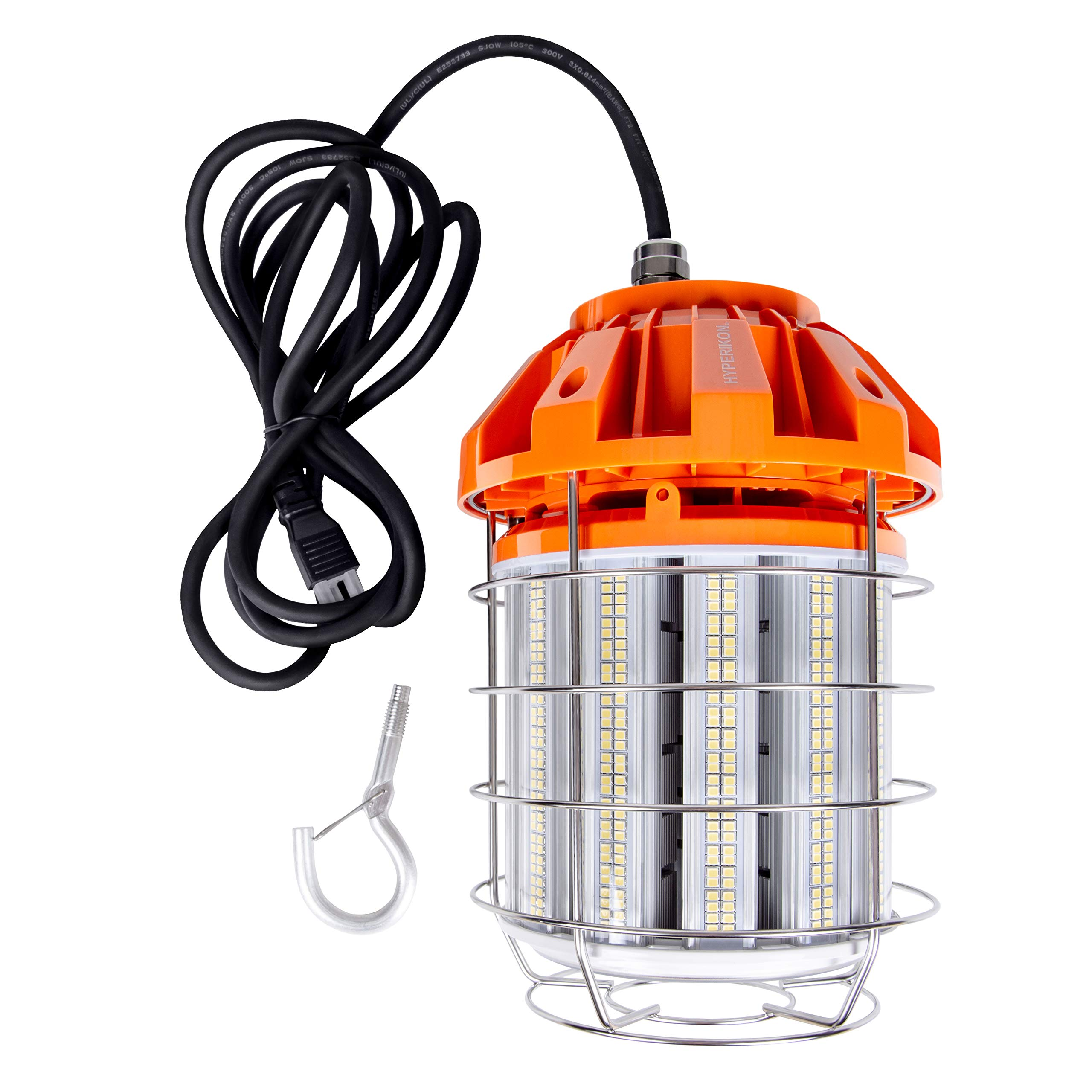 Hyperikon 125W LED Temporary Work Light Hanging for Construction/Workshop/Jobsite, Corded Portable LED Work Light Fixture, 5000K, 120V, UL