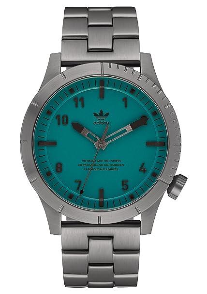 adidas Relojes Hombre Cypher_M1. Pulsera De Acero Inoxidable Sólido 3 Enlace, 22 Mm Anchura (0,42 Mm) Gunmetal/Subgreen: Amazon.es: Ropa y accesorios