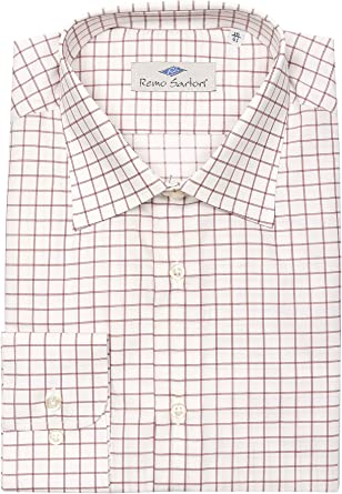 Remo Sartori – Camisa de hombre de algodón blanco a cuadros rosas, ajuste regular, manga larga, fabricada en Italia
