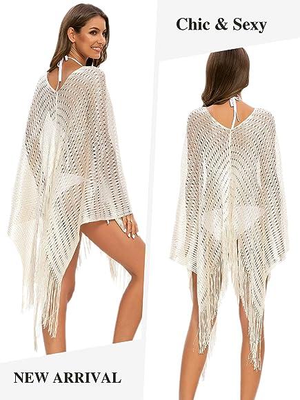 MessBebe Damen Strandkleid Gestrickte Sommer Strandponcho Quaste H/äkeln V Ausschnitt Strandurlaub Badeanzug Beachwear Bikini Cover Ups