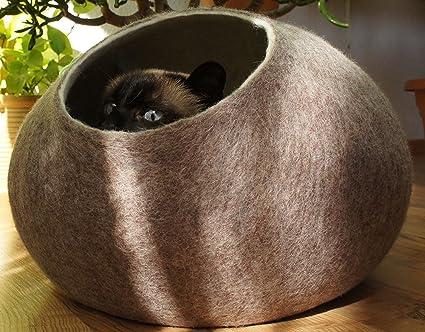 amazon com kivikis handmade sheep wool cat house bed cave large