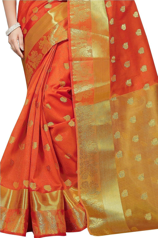 Kanchipuram Cotton Silk Saree With Blouse Piece