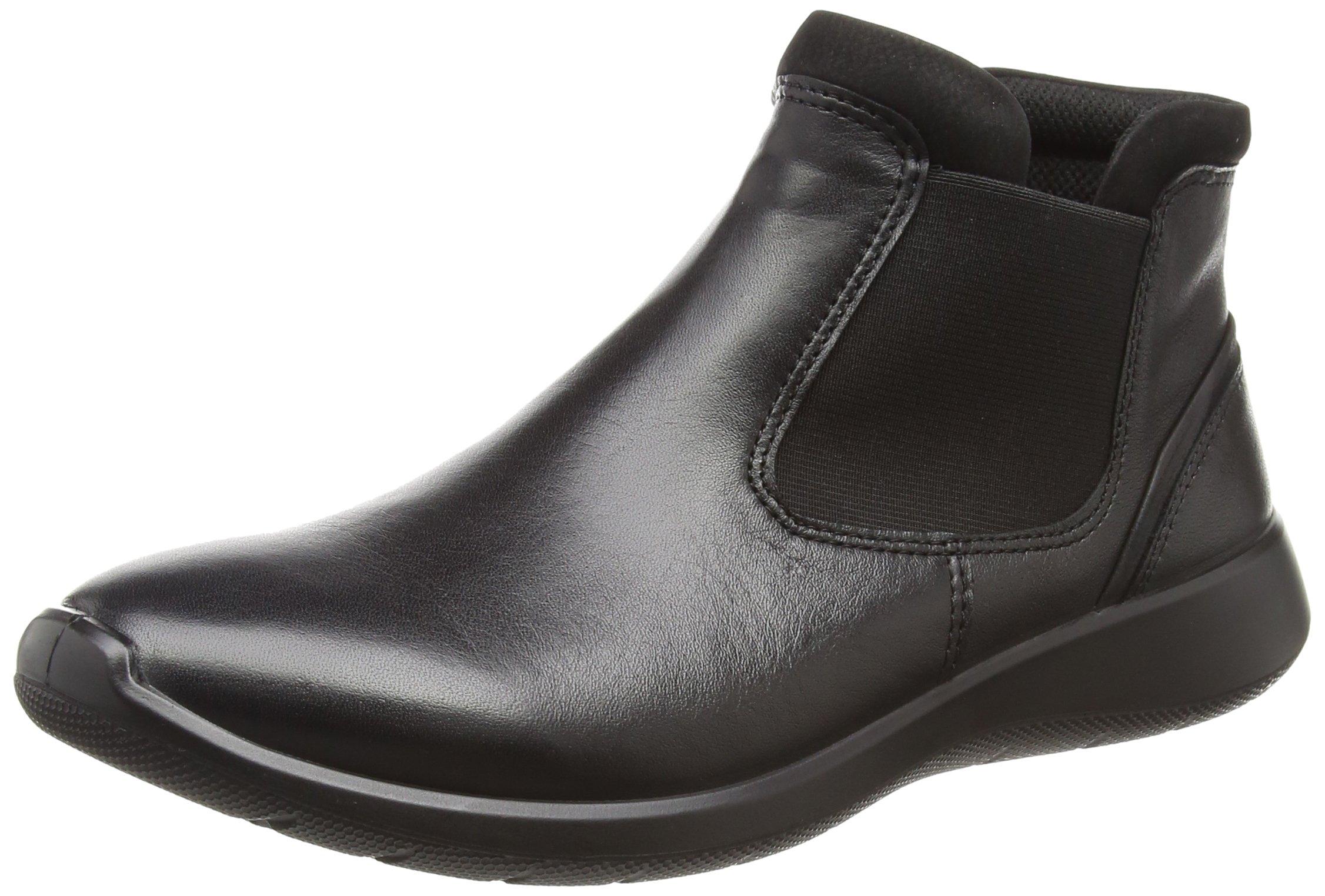 ECCO Women's Women's Soft 5 Low Chelsea Fashion Sneaker, Black/Black, 39 EU/8-8.5 US