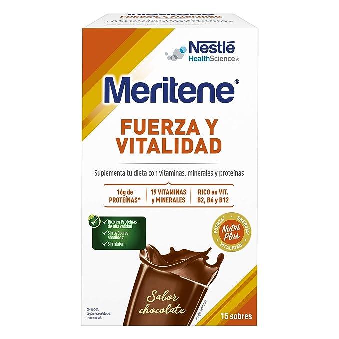 MERITENE de Nestlé Health Science -FUERZA Y VITALIDAD Batido Chocolate - Estuche (15x30g)
