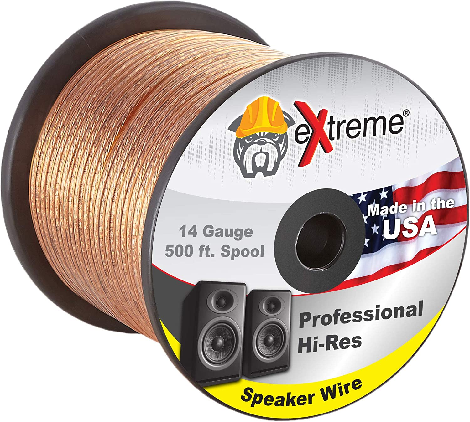 Professional Grade 14 Gauge Speaker Cable – Pure Stranded Copper Speaker Wire in 500 Feet for Car Audio, Home Theater Systems, Radio Speakers, Any Audio Application by eXtreme Consumer Products