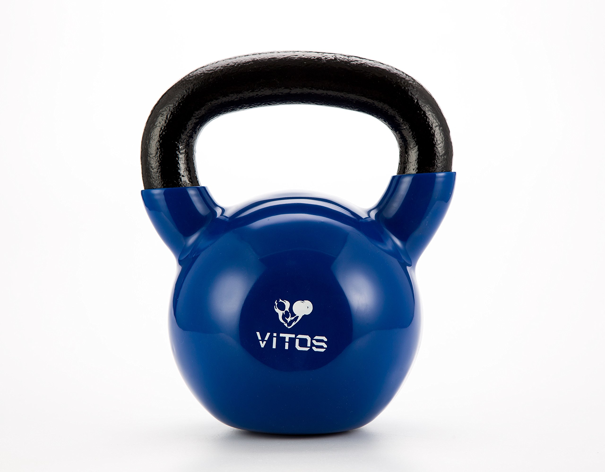 Vitos Fitness Vinyl Coated Kettlebell Weights 5 to 50 LBs (Blue, 45LB)