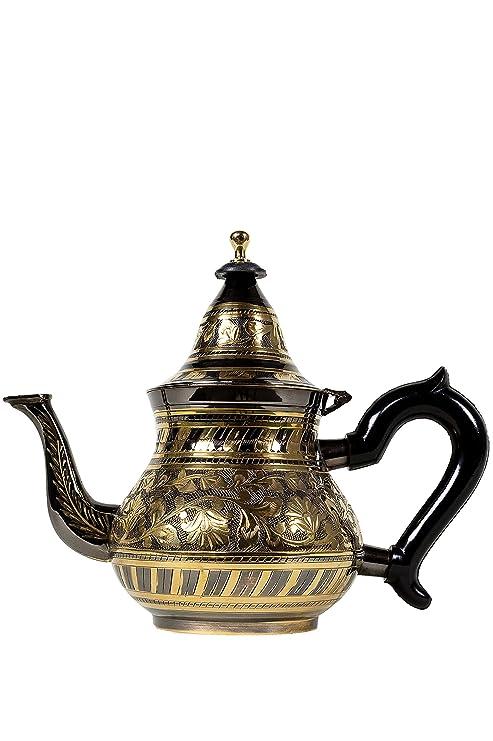 Tetera, Oriente, oriental, marroquí, de latón, plateado de Marruecos (Bakir negro / oro 800ml)