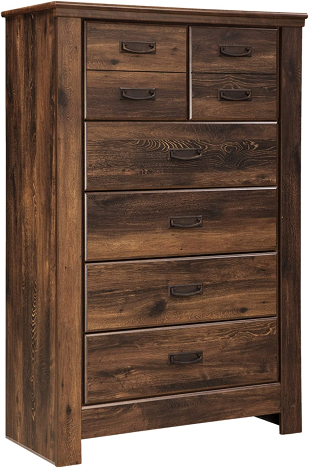 Ashley Furniture Signature Design - Quinden Chest of Drawers - 5 Drawers - Vintage Casual - Dark Brown