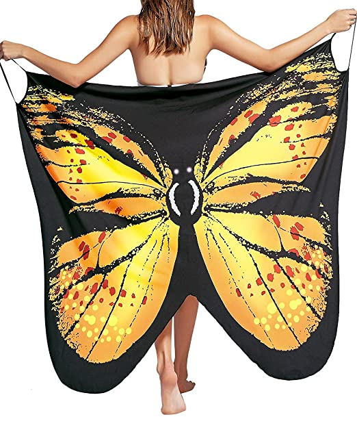 23aed50991bc2 JUNBOON Women's Beach Cover up Butterfly Wings Shape Scarf Swimsuit Shawl  Wraps