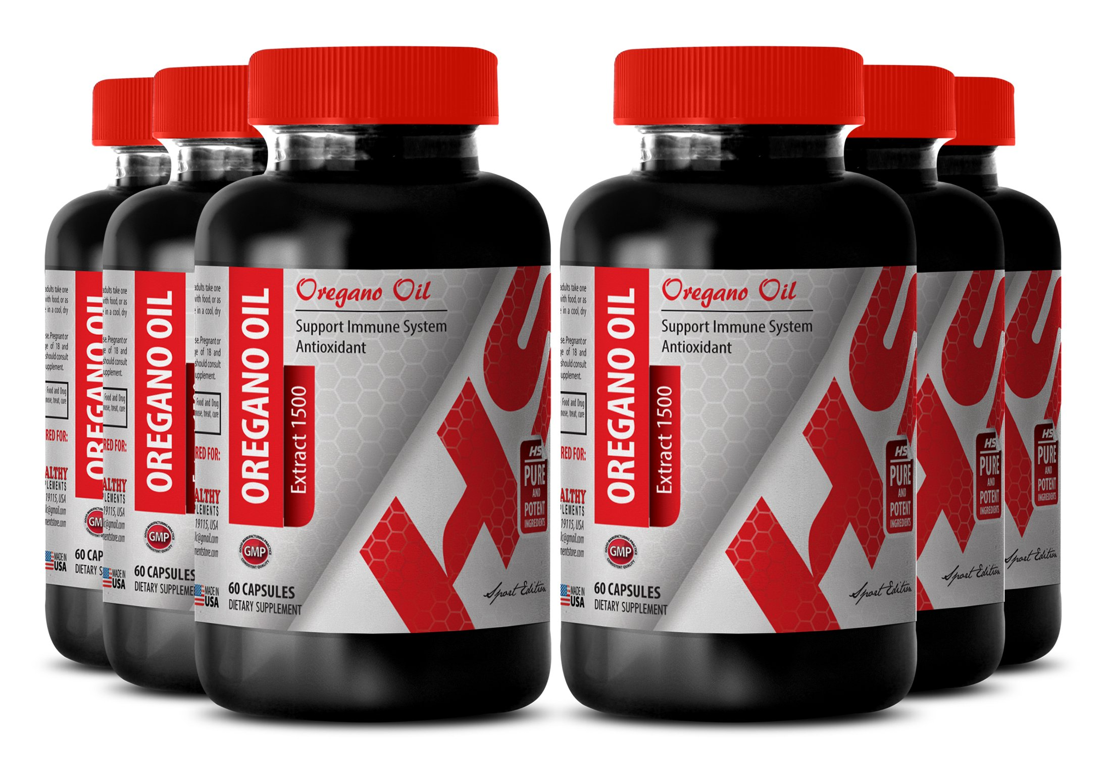 Oregano extract capsules - NATURAL OIL OF OREGANO EXTRACT 1500 MG - promote weight loss (6 Bottles)