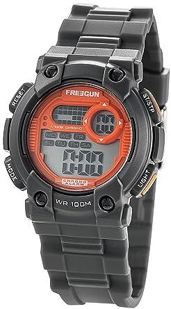 a4d86a4c540de Freegun - EE5179 - Montre Garçon - Quartz Digital - Cadran Orange - Bracelet  Plastique Gris
