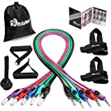 Resistance Band Set, Home Workout Bands with Handles, Heavy Duty Anti-Snap Technology Exercise Bands, Door Anchor, Leg Straps, Carrying Bag for Resistance Training and Physical Therapy.
