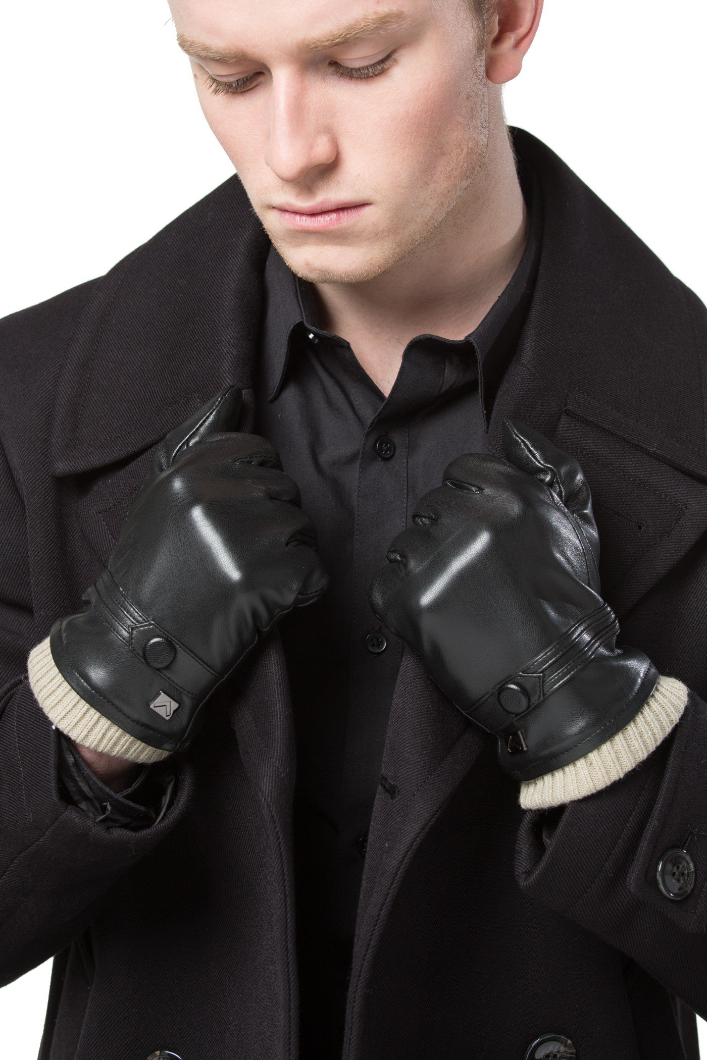 Gallery Seven Mens Faux Leather Warm Winter Gloves - Touch Screen Texting Glove - Gift Wrapped - Black Fine Button Style - Small by Gallery Seven (Image #1)