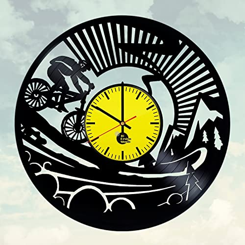 Amazon.com: Mountain Bike Handmade Vinyl Record Wall Clock Fun gift ...