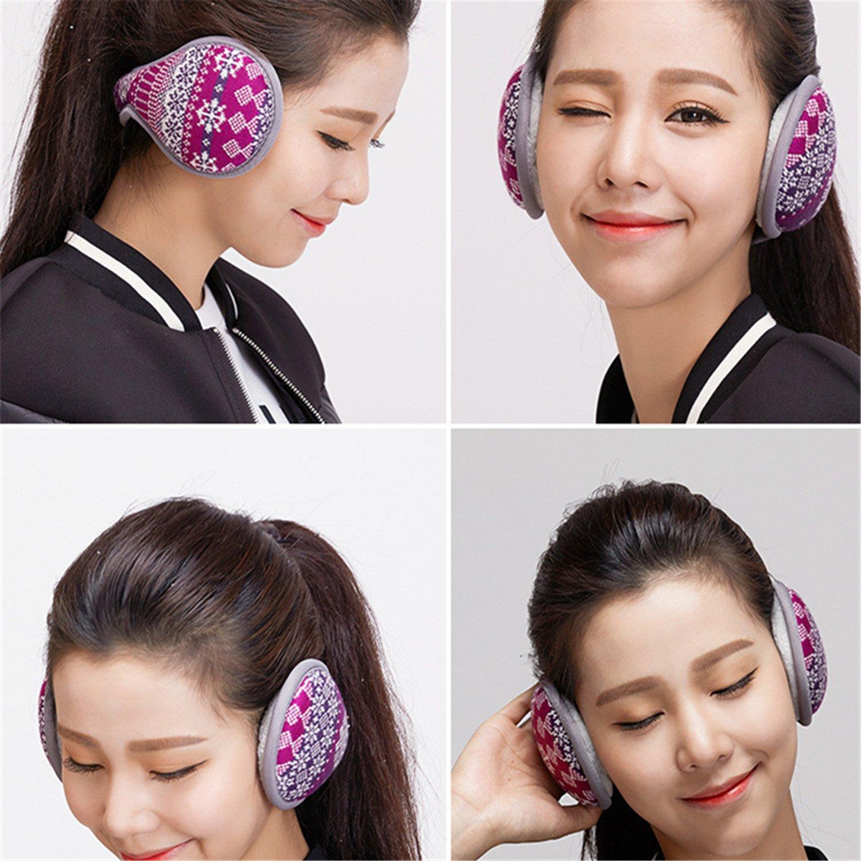 Outdoor Exposure and Thicken Earmuffs Ear Cover Unisex Foldable Ear Warmers Polar Fleece Winter EarMuffs Color Purple by YADEER (Image #5)
