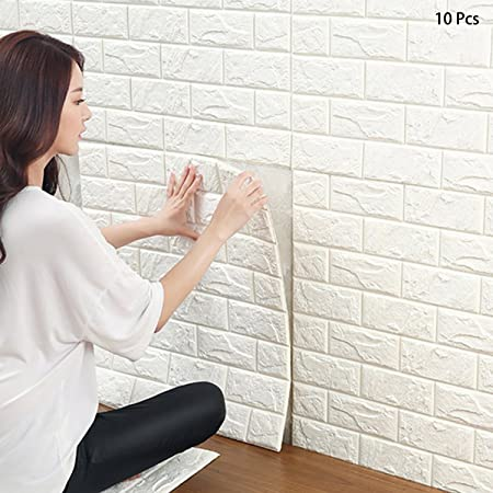 3D Brick Wallpaper White Pattern Wall Stickers Self Adhesive For Living