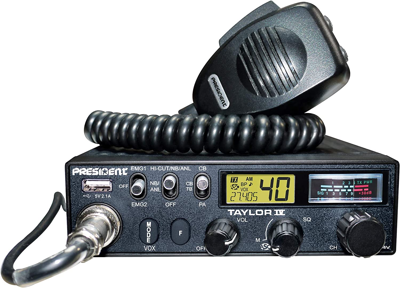 PRESIDENT ELECTRONICS TXPR403 - Taylor-IV Emisora CB Puede funcionar con 12/24 voltios 40 Canales Am/FM