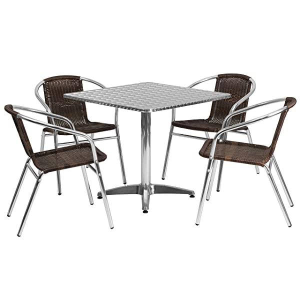 Flash Furniture Square Aluminum Indoor Outdoor Table with 4 Rattan Chairs, 31.5