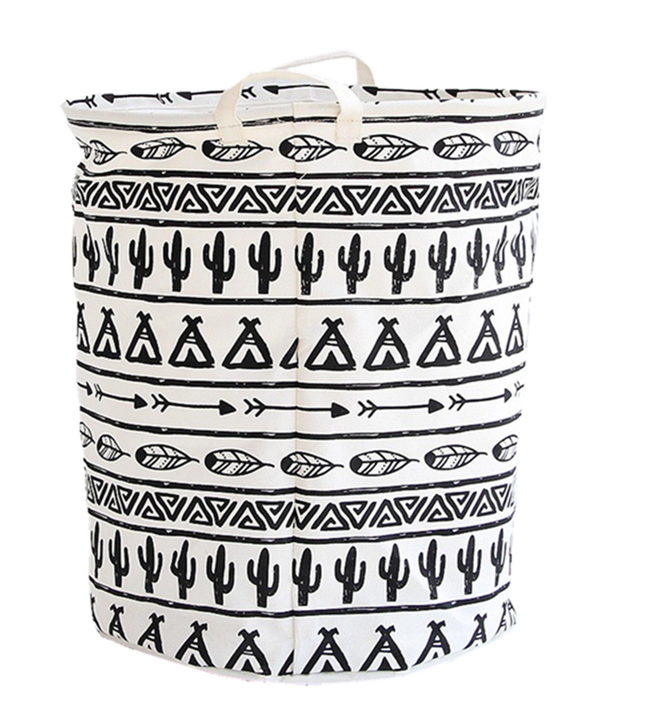 LEELI Laundry Hamper with Handles-Collapsible Canvas Basket for Storage Bin,Kids Room,Home Organizer,Nursery Storage,Baby Hamper,19.7×15.7 (Totem)